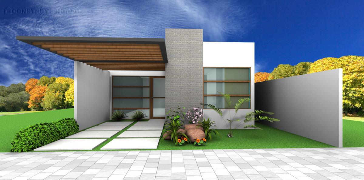 Fachada casa de un piso moderna - piedra madera hormigón