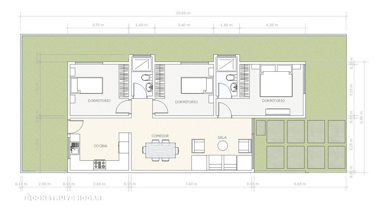 Plano casa un piso construida terreno pequeño