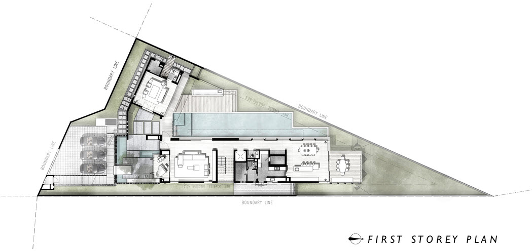 Plano de casa terreno triangular
