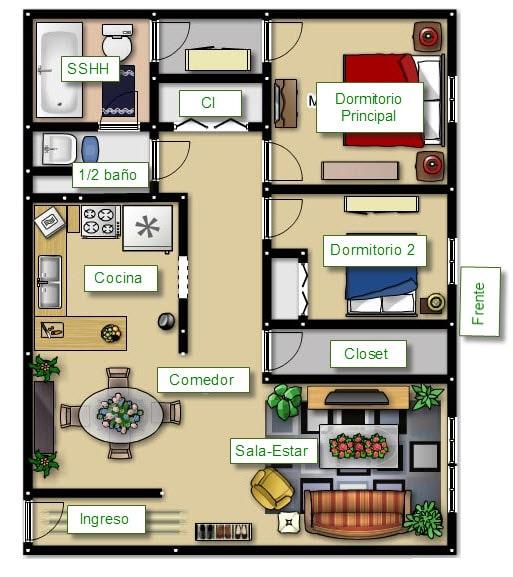 Plano de casa peque a con amplio frente construye hogar for Diseno de apartamento de 4x8 mts
