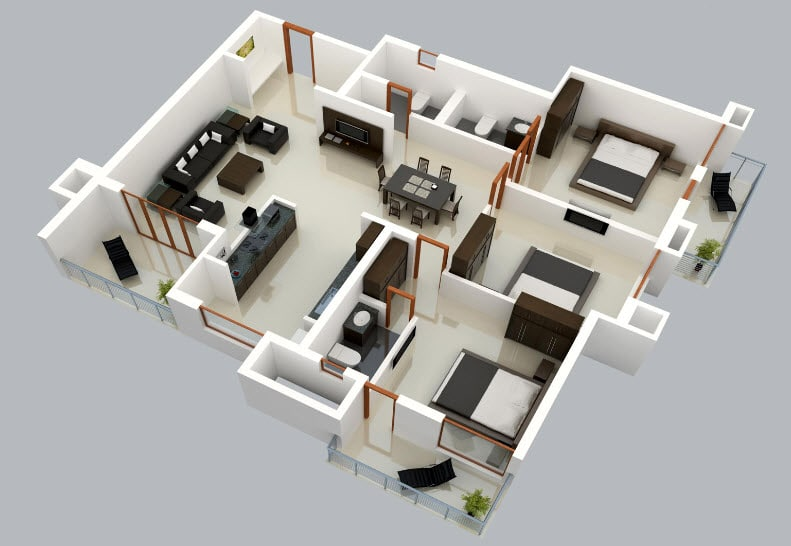 Plano 3d de casa de un solo nivel construye hogar for Software decoracion interiores 3d gratis