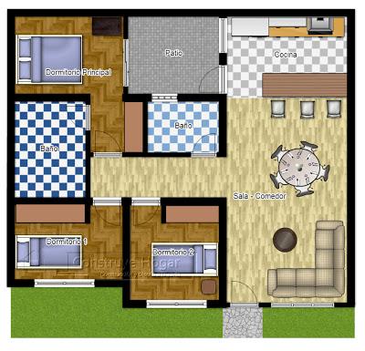 Diseño de plano de casa cuadrada con un sólo frente