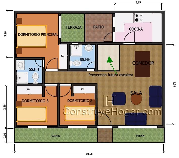 Plano de casa de 10m x 10m con proyecci n a segundo nivel for Diseno de casa de 5 x 10
