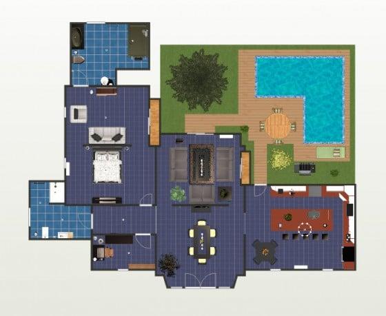 plano de casa con piscina
