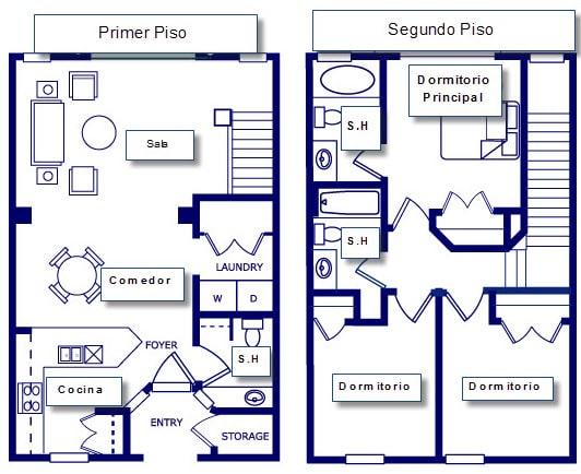 Plano de casa pequeña con tres dormitorios