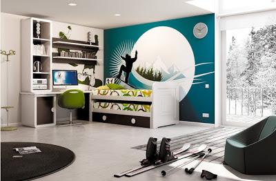 Decoración interior de dormitorio jóvenes deportistas