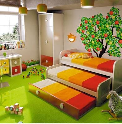 Decoración interior de dormitorio juvenil naturaleza