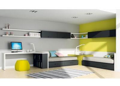 Diseño y decoración de interiores de dormitorio en verde y negro