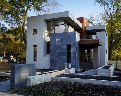 Fachadas de piedra en casa moderna