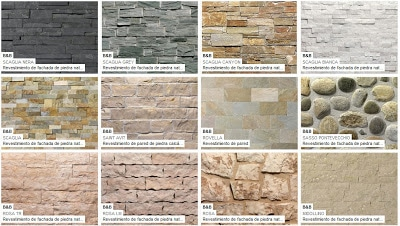 Todos los modelos de piedra en formas y colores