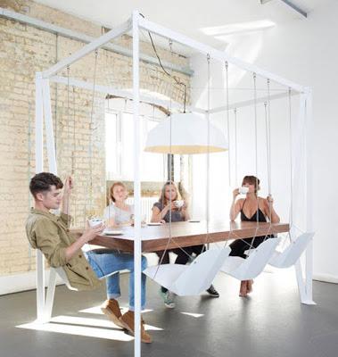 Diseño de comedor con sillas flotantes