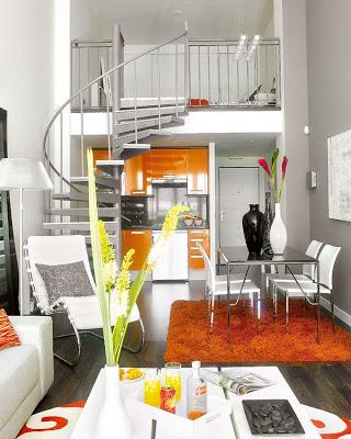 Pequeño departamento a doble altura en color blanco