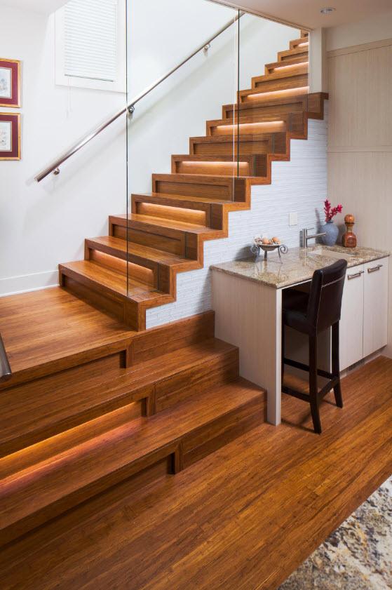 Diseño de escaleras madera retroiluminadas