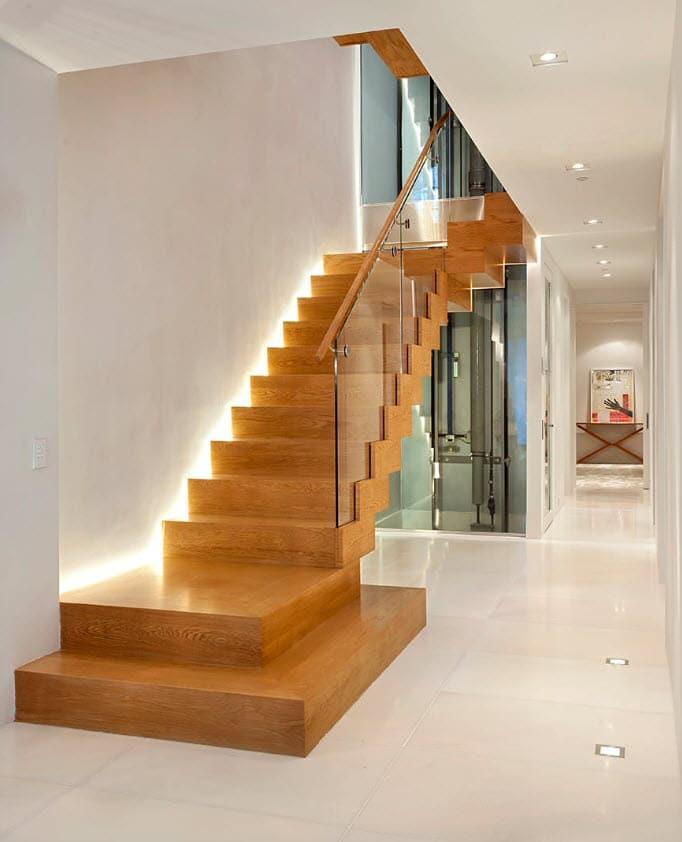 Diseño escaleras modernas de madera iluminadas