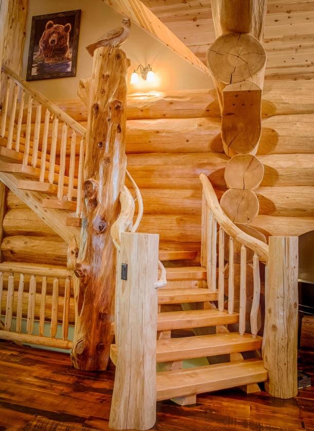 Diseño escalera rústica madera