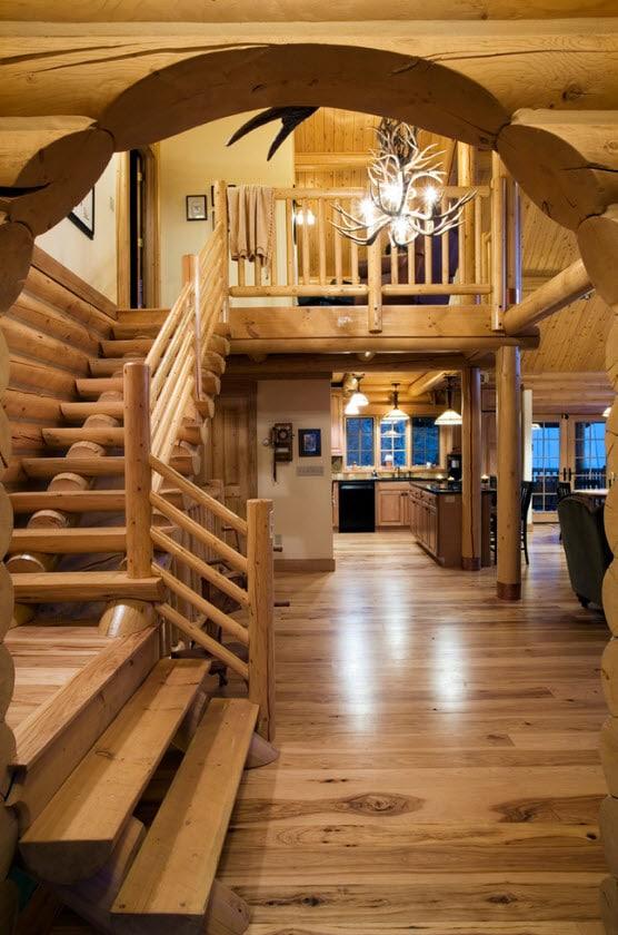 Escalera con troncos de madera