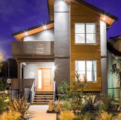 Fachadas combina madera, concreto y techos inclinados
