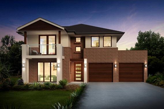 Diseño de casa de dos pisos con dos garages