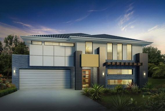 Diseño de casa de dos pisos con amplio frente