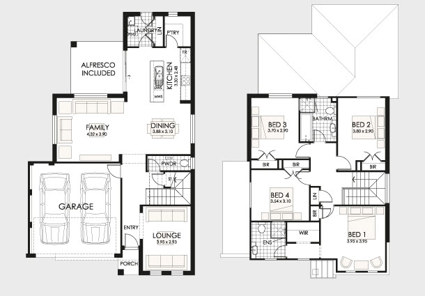 planos de casas de dos pisos modernos