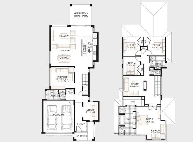 planos de casas de dos pisos con medidas modernas