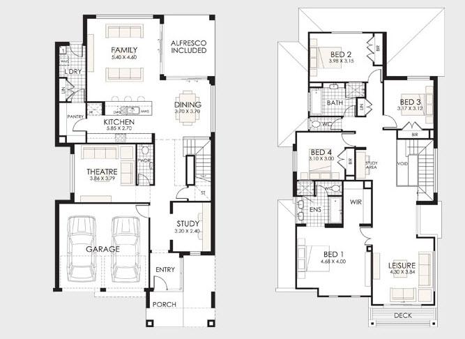 planos de casas de dos pisos con balcon