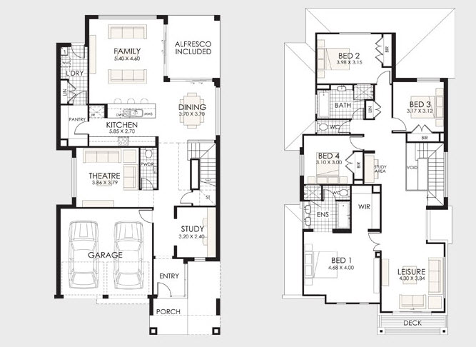 Plano de casa grande de dos pisos