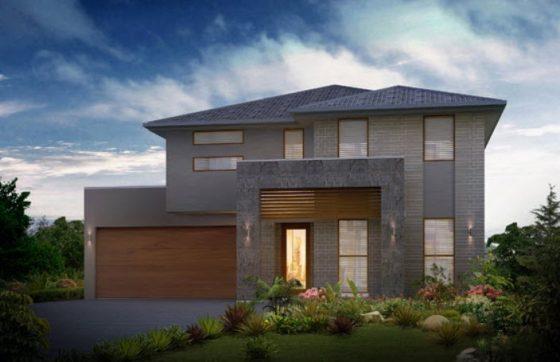 Fachada de casa de dos pisos piedra y baldosas
