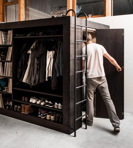 No es mueble modular y tiene cama closet librero y m s for Muebles modernos para departamentos pequenos