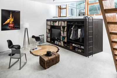 Mueble modular para departamento pequeño en dormitorio