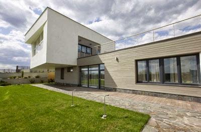 Volumen de fachada de casa contemporánea