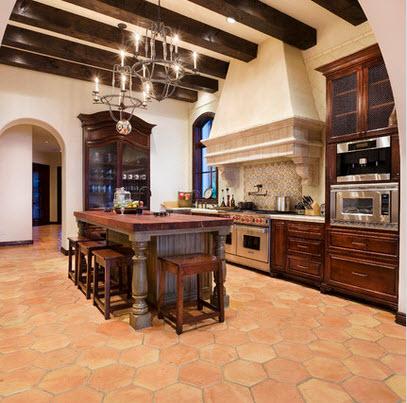 Diseño de cocina con piso hexagonal