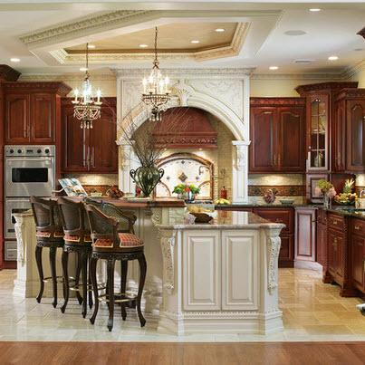 Diseño de cocina elegante con pisos de mármol