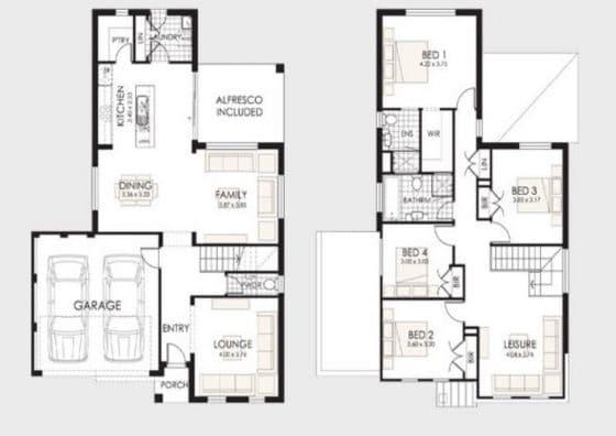 planos de casas de dos pisos 4 recamaras