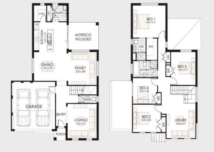 Planos de casas de dos pisos con ideas y dise os que for Planos para segundo piso