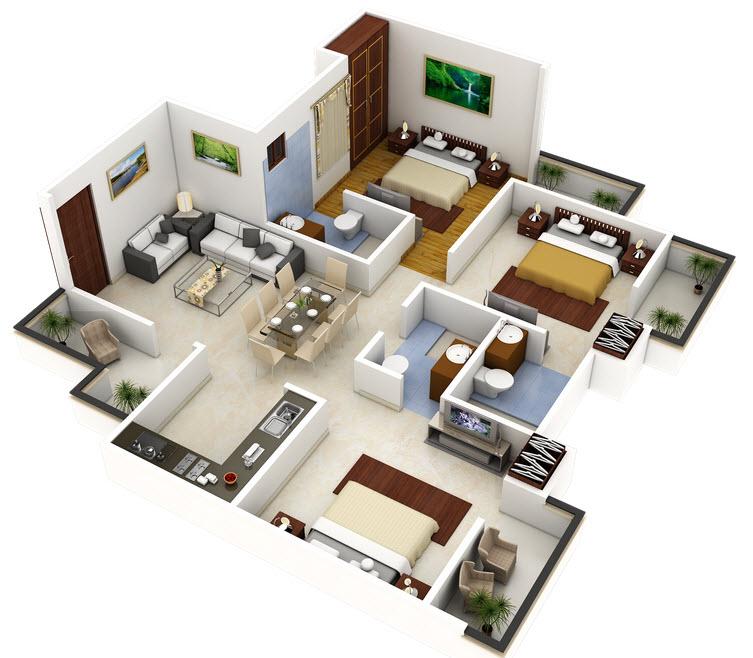 Plano 3d de casa o departamento cuadrado construye hogar for Planos de casas medianas