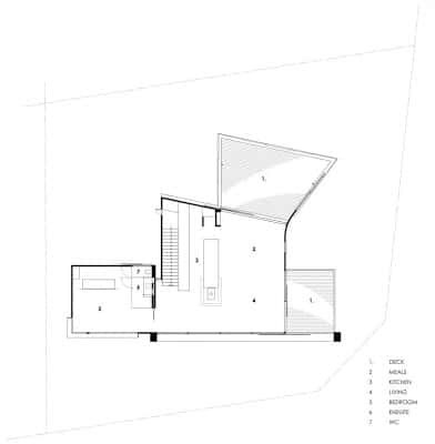 Plano de casa de dos pisos en pendiente segundo piso