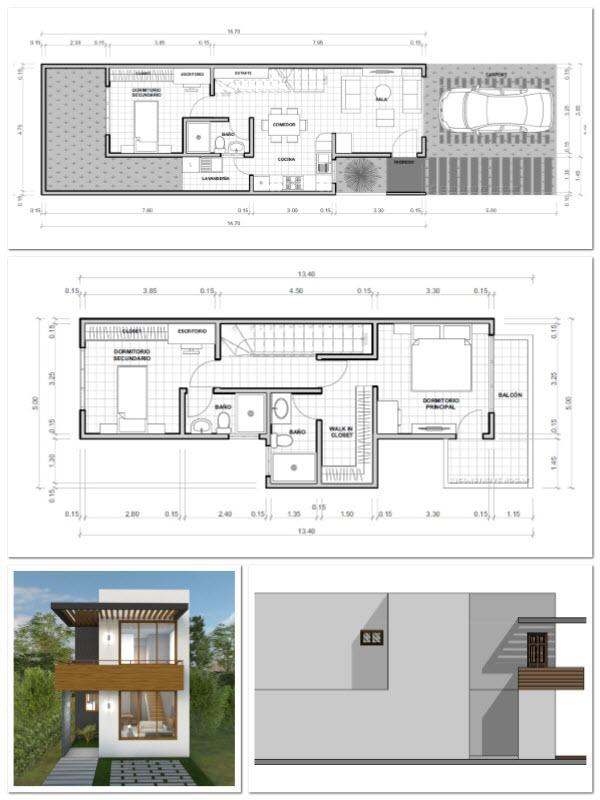 Planos de casas de dos pisos con medidas de las habitaciones