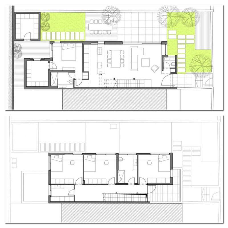 Planos de casas de dos plantas para terreno rectangular