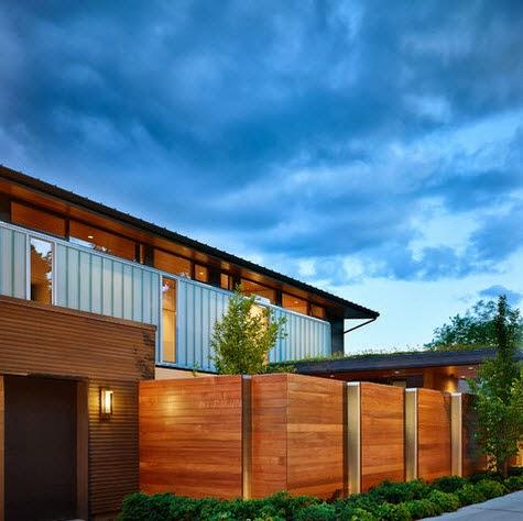 Cercos para casas de madera con metal estilo moderno