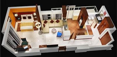 Diseño de departamento pequeño de lujo