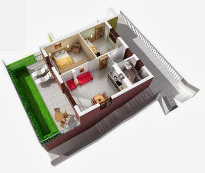 Departamentos peque os planos y dise o en 3d construye for Como hacer mi casa en 3d