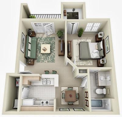 Departamento pequeño en planos 3D, sala, cocina, baño, 1 dormitorio