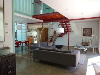 Diseño interior de casa hecha de container
