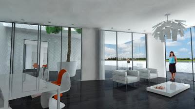Diseño interior de edificio flotante