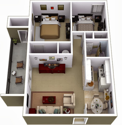 Diseño y plano de departamento dos dormitorios