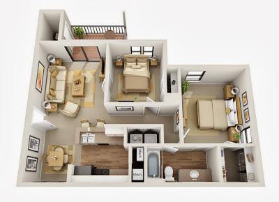 Diseño de departamento de dos dormitorios