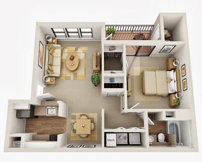 Plano de departamento pequeño de un dormitorio con baño
