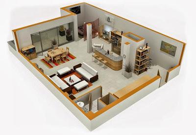 Diseño de mini departamento en un solo espacio abierto