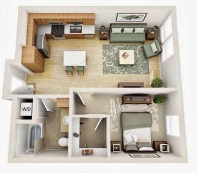 Departamentos peque os planos y dise o en 3d construye for Alquiler de cuartos o minidepartamentos